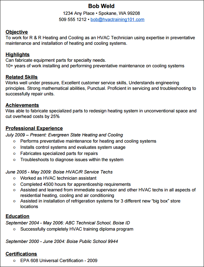 good skills to help build your resume - Hvac Resume Sample